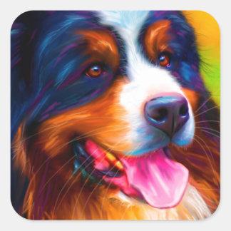 Bernese Mountain Dog Painting - Heidi Square Sticker
