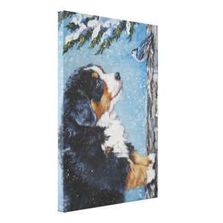 Bernese Mountain Dog Painting on Wrapped Canvas
