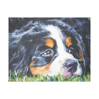 Bernese Mountain Dog Painting on Wrapped Canvas Canvas Print