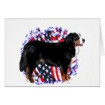 Bernese Mountain Dog Patriot Greeting Card