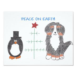 Bernese Mountain Dog Peace On Earth Card