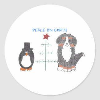 Bernese Mountain Dog Peace On Earth Classic Round Sticker