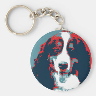 Bernese Mountain Dog Political Parody Poster Keychain