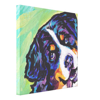 Bernese Mountain Dog Pop Dog Art on Wrapped Canvas Canvas Print