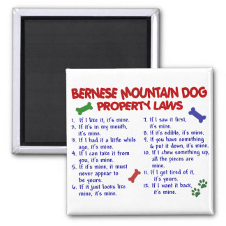 BERNESE MOUNTAIN DOG Property Laws 2 2 Inch Square Magnet