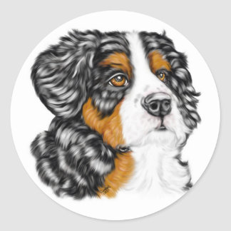 Bernese Mountain Dog Pup Classic Round Sticker