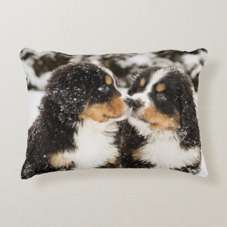 Bernese Mountain Dog Puppets Sniff Each Other Decorative Pillow