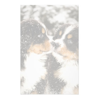Bernese Mountain Dog Puppets Sniff Each Other Stationery