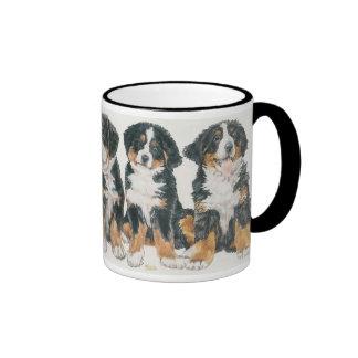 Bernese Mountain Dog Puppies Ringer Coffee Mug