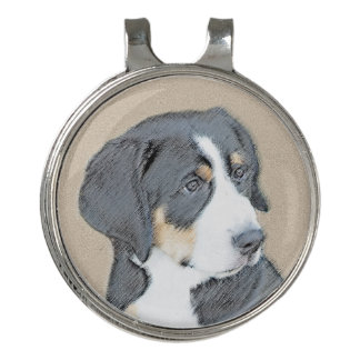 Bernese Mountain Dog Puppy Painting - Original Art Golf Hat Clip