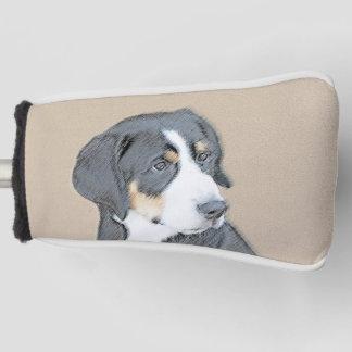 Bernese Mountain Dog Puppy Painting - Original Art Golf Head Cover