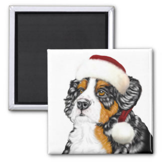 Bernese Mountain Dog Santa Pup 2 Inch Square Magnet