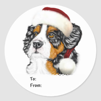 Bernese Mountain Dog Santa Pup Christmas Gift Tags Classic Round Sticker