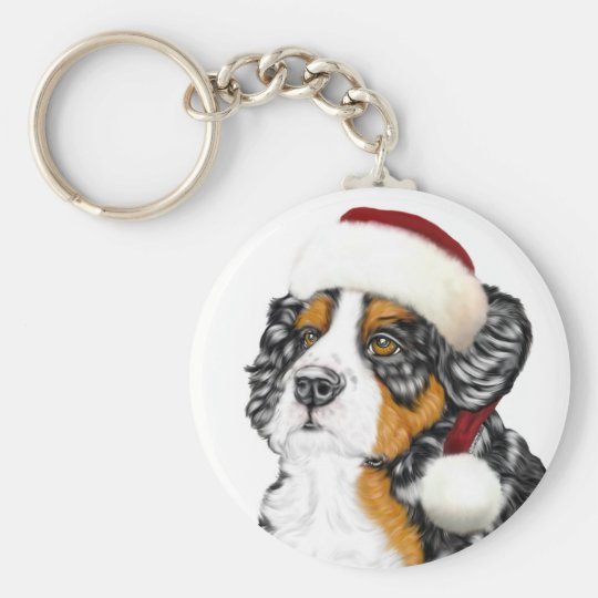 Bernese Mountain Dog Santa Pup Keychain