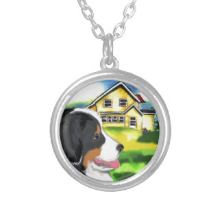 bernese mountain dog scene silver plated necklace