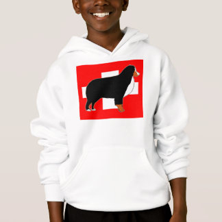 bernese mountain dog silhouette on flag rust hoodie