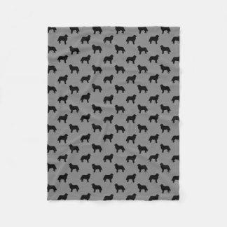 Bernese Mountain Dog Silhouettes Pattern Grey Fleece Blanket