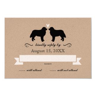 Bernese Mountain Dog Silhouettes Wedding RSVP Card