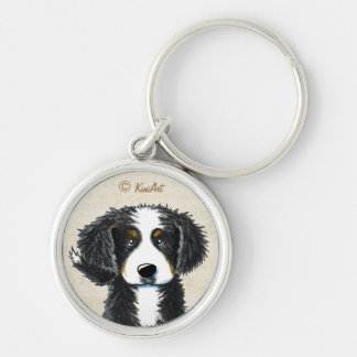 Bernese Mountain Dog Silver-Colored Round Keychain