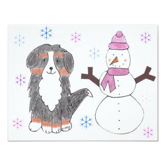 Bernese Mountain Dog & Snowman Card