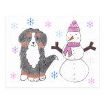 Bernese Mountain Dog & Snowman Postcard