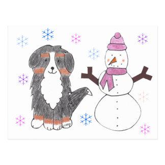 Bernese Mountain Dog & Snowman Postcards