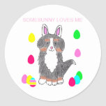 Bernese Mountain Dog Somebunny Loves Me Stickers
