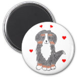 Bernese Mountain Dog Valentine Ears 2 Inch Round Magnet