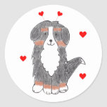Bernese Mountain Dog Valentine Ears Classic Round Sticker