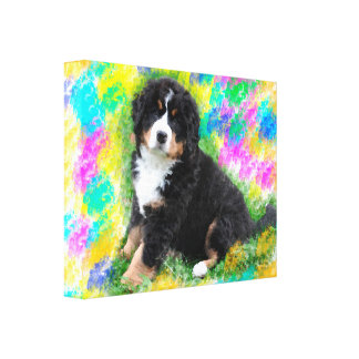 Bernese Mountain Dog Watercolor Art Painting Canvas Print