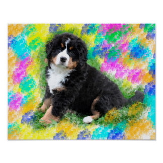 Bernese Mountain Dog Watercolor Art Painting Poster