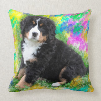Bernese Mountain Dog Watercolor Art Painting Throw Pillow