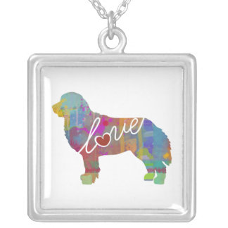 Bernese Mountain Dog Watercolor Silver Plated Necklace