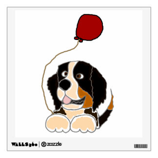 Bernese Mountain Dog with Balloon Room Stickers