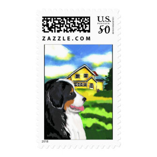 Bernese Mountain dog with house Postage