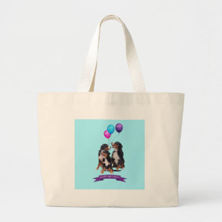 Bernese Mountain Dogs Happy Birthday Large Tote Bag