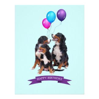 Bernese Mountain Dogs Happy Birthday Letterhead