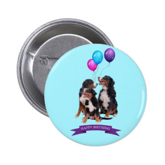 Bernese Mountain Dogs Happy Birthday Pinback Button