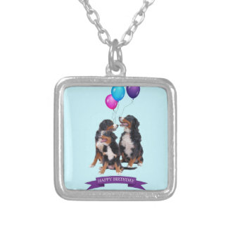 Bernese Mountain Dogs Happy Birthday Silver Plated Necklace