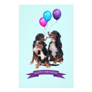 Bernese Mountain Dogs Happy Birthday Stationery