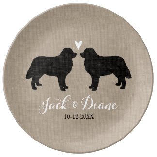 Bernese Mountain Dogs with Heart and Text Dinner Plate