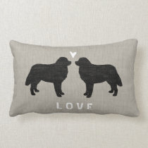 Bernese Mountain Dogs with Heart and Text Lumbar Pillow