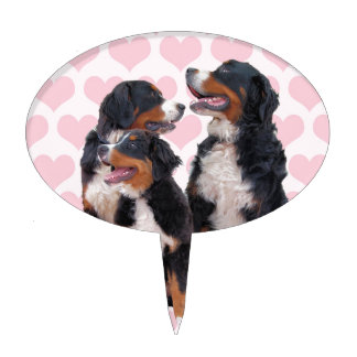 Bernese Mountain Dogs with Pink Hearts Cake Topper