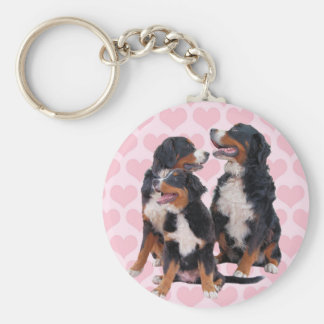 Bernese Mountain Dogs with Pink Hearts Keychain