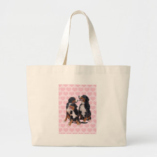 Bernese Mountain Dogs with Pink Hearts Large Tote Bag