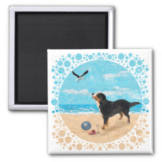 Bernese Mt Dog at the Beach Magnets