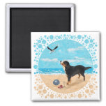 Bernese Mt. Dog at the Beach Magnets