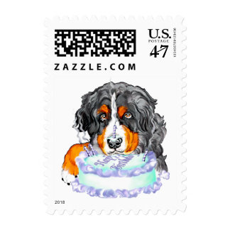 Bernese Mt Dog Cake Face Birthday Postage
