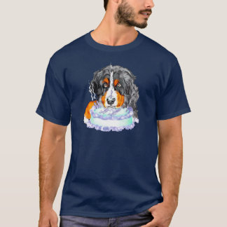 Bernese Mt Dog Cake Face Birthday T-Shirt