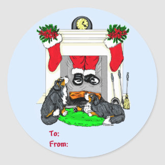 Bernese Mt Dog Santa Drops In Christmas Gift Tags Classic Round Sticker